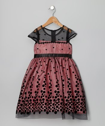 Coral & Black Polka Dot Dress - Toddler & Girls