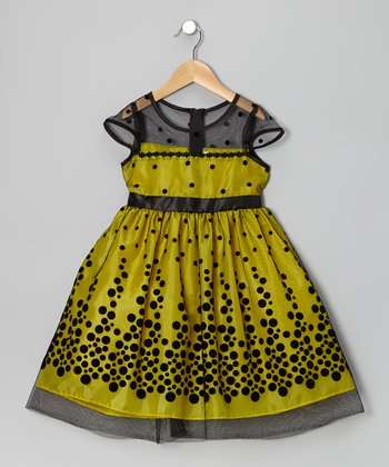 Yellow & Black Polka Dot Dress - Toddler & Girls