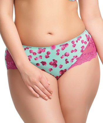Mint & Fuchsia Lace-Trim Valentina Briefs - Women & Plus