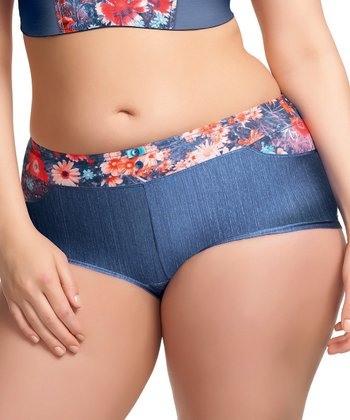 Blue & Red Floral Faux Denim Roxy Briefs - Women & Plus