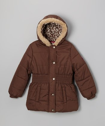 Brown Leopard Puffer Coat - Infant, Toddler & Girls