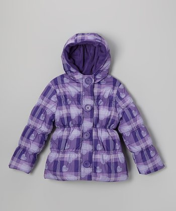 Purple Heart Plaid Puffer Coat - Toddler & Girls