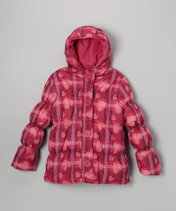 Berry Heart Plaid Puffer Coat - Toddler & Girls