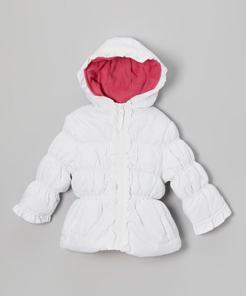 White Polka Dot Puffer Coat - Girls