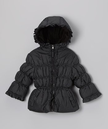 Black Polka Dot Puffer Coat - Toddler & Girls