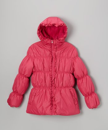 Fuchsia Polka Dot Puffer Coat - Infant, Toddler & Girls