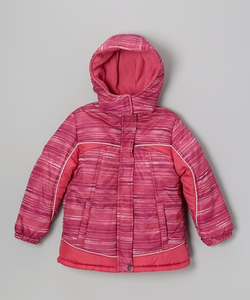 Pink Stripe Puffer Coat - Toddler & Girls
