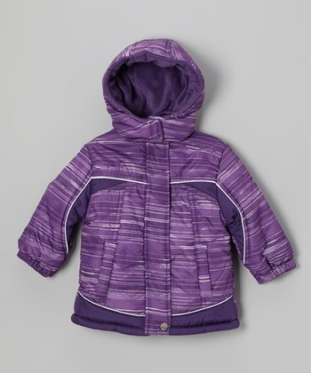 Purple Stripe Puffer Coat - Toddler & Girls
