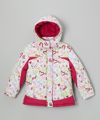 White Heart & Peace Puffer Coat - Girls