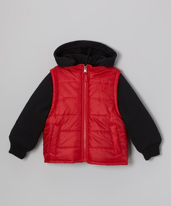 Red & Black Layered Puffer Coat - Boys