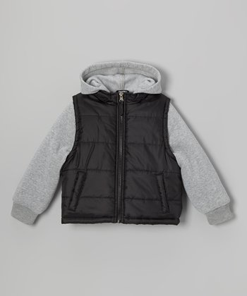Black & Gray Layered Puffer Coat - Toddler