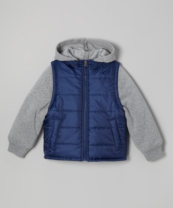 Navy & Gray Layered Puffer Coat - Boys