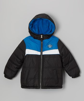 Black Tri-Color Puffer Coat - Toddler & Boys