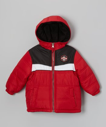 Red Tri-Color Puffer Coat - Toddler & Boys