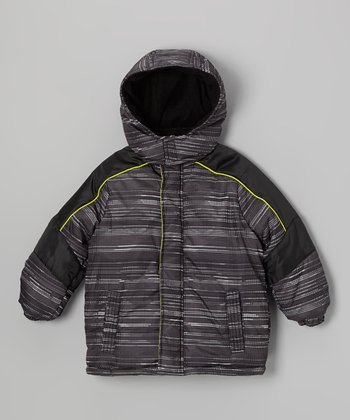Black Stripe Puffer Coat - Infant & Toddler