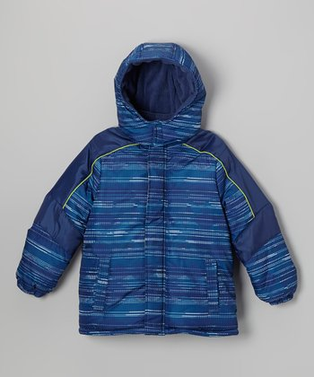 Blue Stripe Puffer Coat - Toddler