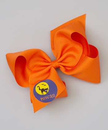 Orange & Black Cat Personalized Bow Clip