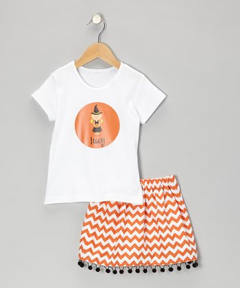 Blonde Witch Tee & Orange Zigzag Skirt - Toddler & Girls