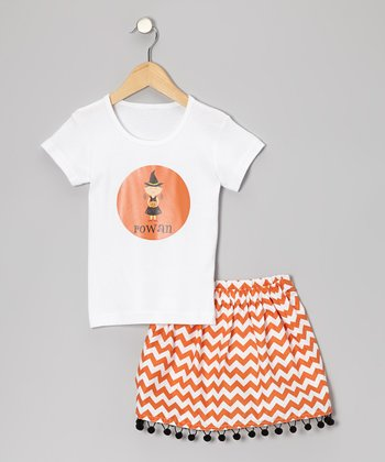Brown-Haired Witch Tee & Orange Zigzag Skirt - Toddler & Girls