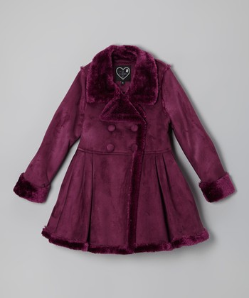 Burgundy Skirted Double-Breasted Coat - Girls