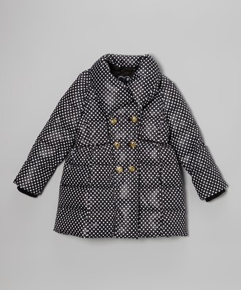 Black Polka Dot Double-Breasted Puffer Coat - Girls