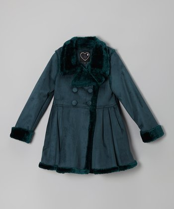 Evergreen Skirted Double-Breasted Coat - Toddler & Girls
