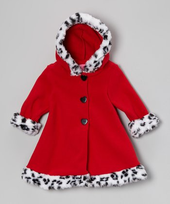 Red Leopard Hooded Swing Coat - Infant & Toddler