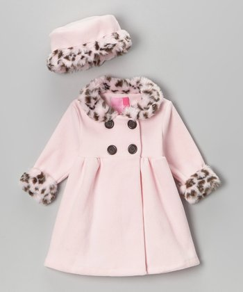 Pink Leopard Swing Coat & Hat - Infant