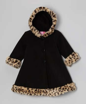 Black Leopard Hooded Swing Coat - Infant & Toddler