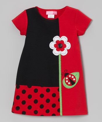 Red Ladybug Color Block Ponte Dress - Toddler & Girls