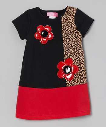 Red Flower Color Block Ponte Dress - Toddler & Girls