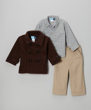 Brown Peacoat Set - Infant, Toddler & Boys