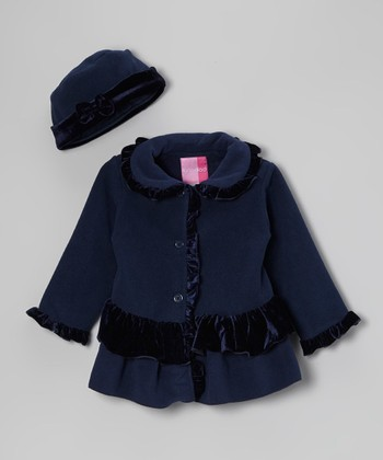 Navy Ruffle Coat & Hat - Infant & Toddler