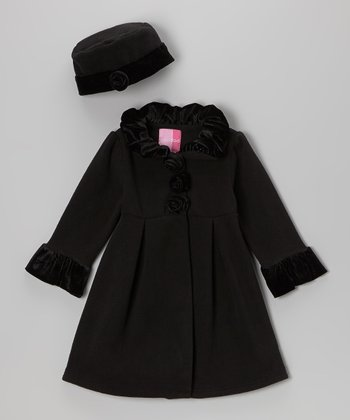 Black Rosette Swing Coat & Hat - Toddler & Girls