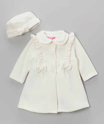 Cream Ruffle Coat & Hat - Infant & Toddler