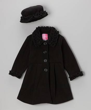 Black Ruffle Coat & Hat - Toddler & Girls