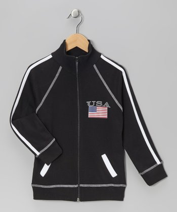 Black 'USA' Flag Jacket - Infant, Toddler & Kids
