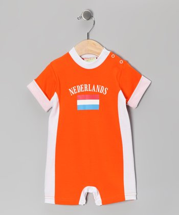 Orange & White 'Nederlands' Flag Romper - Infant
