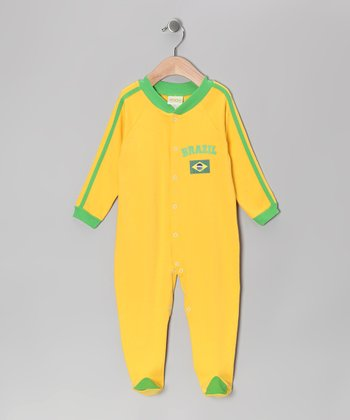 Gold & Green 'Brazil' Flag Footie - Infant
