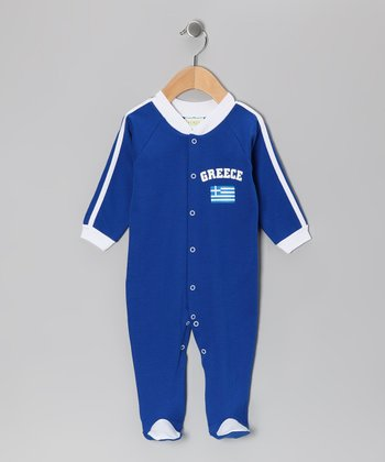 Royal 'Greece' Flag Footie - Infant