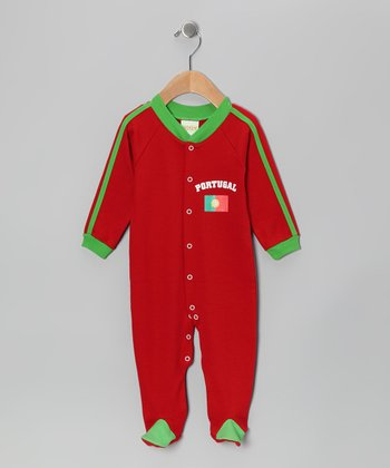 Wine & Green 'Portugal' Flag Footie - Infant