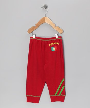 Wine & Green 'Portugal' Flag Pants - Infant, Toddler & Kids