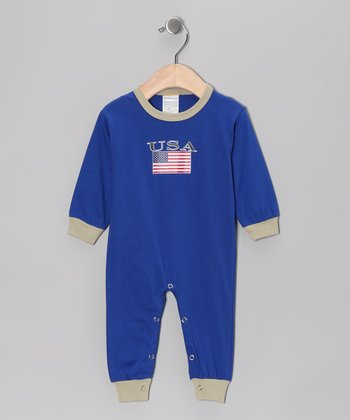 Royal 'USA' Flag Playsuit - Infant