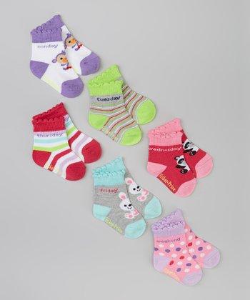 Fisher-Price Green, Pink & Purple Monkey Socks Set - Infant & Toddler