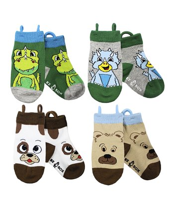 Green & Brown Bear Dinosaur Socks Set - Kids