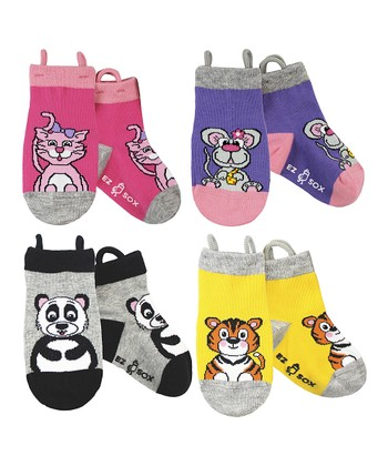 Pink & Purple Zoo Socks Set - Kids