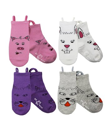 Pink & Purple Kitty & Friends Socks Set - Girls