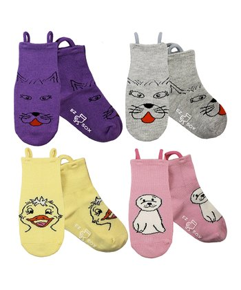 Yellow & Purple Kitty & Water Friends Socks Set - Girls
