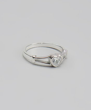 Clear Crystal Sterling Silver Heart Ring