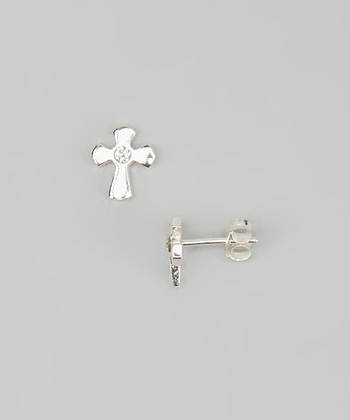 Tiny Treasures  Sterling Silver & Crystal Cross Earrings